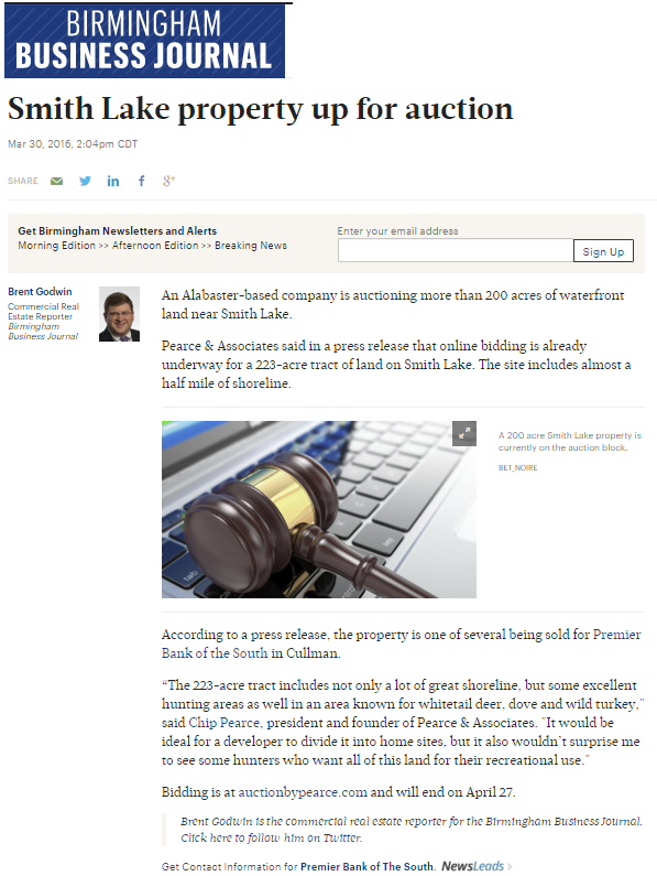 Birmingham Business Journal on Pearce's Smith Lake online auction