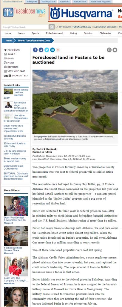 Tuscaloosa News story on Butler land auction