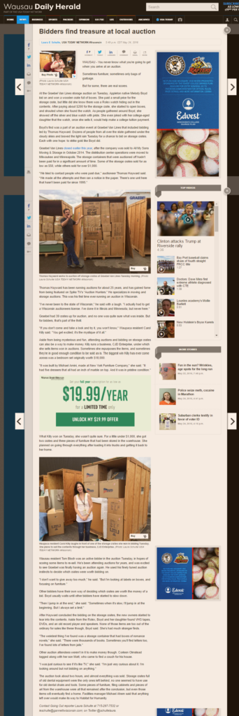 Thomas Hayward's auction is lead story in Wausau
