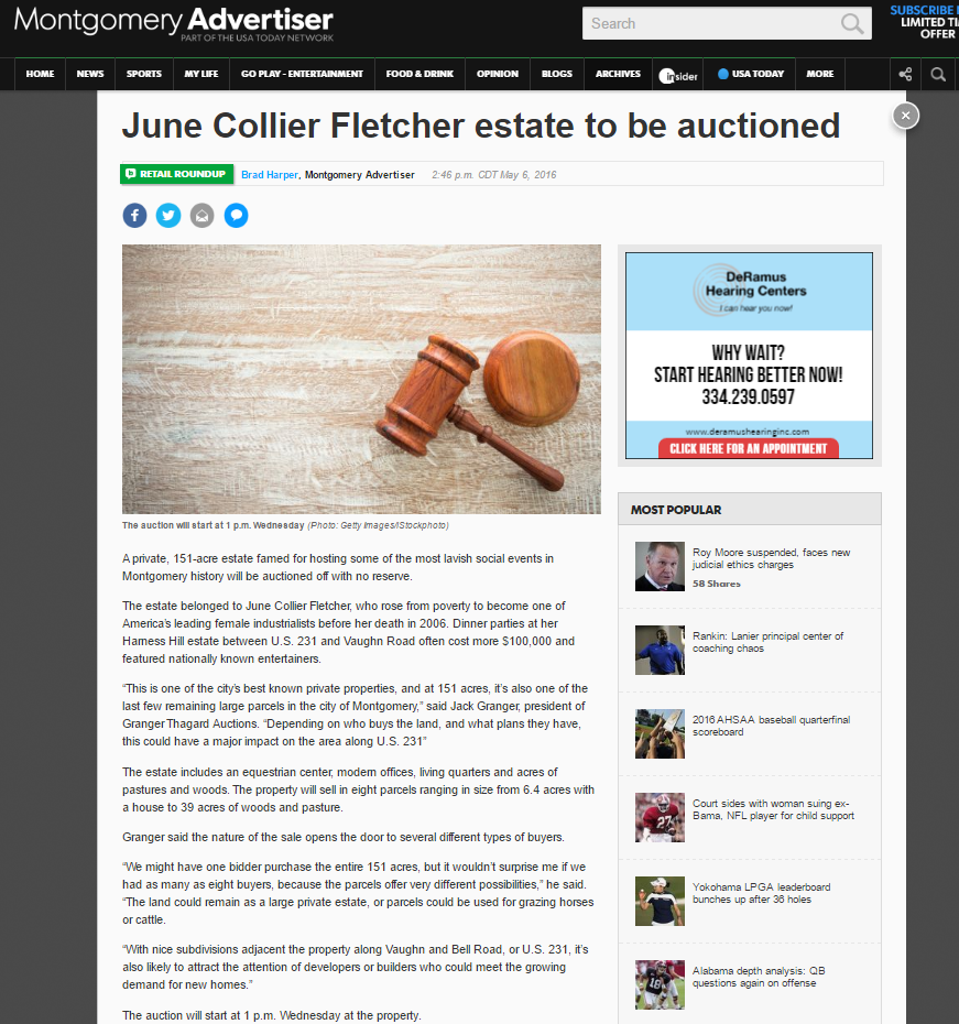 Major Montgomery Advertiser article on upcoming Granger-Thagard auction