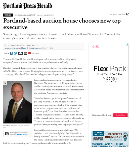 Portland Press-Herald story on Tranzon's new president and CEO