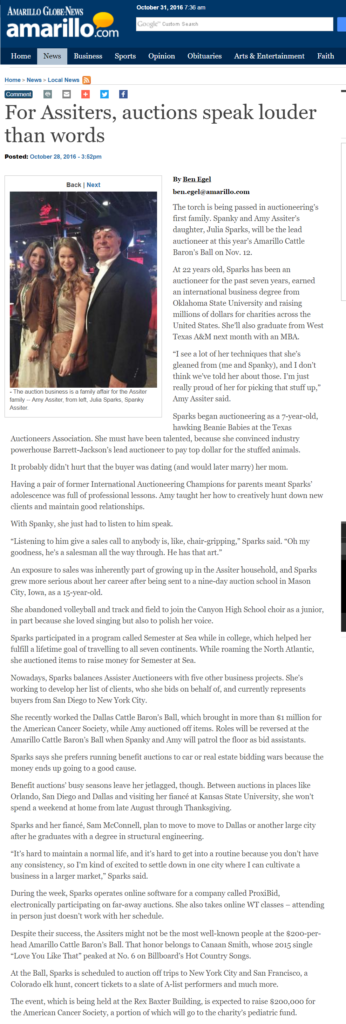Amarillo Globe-News carries major feature on Julia Sparks