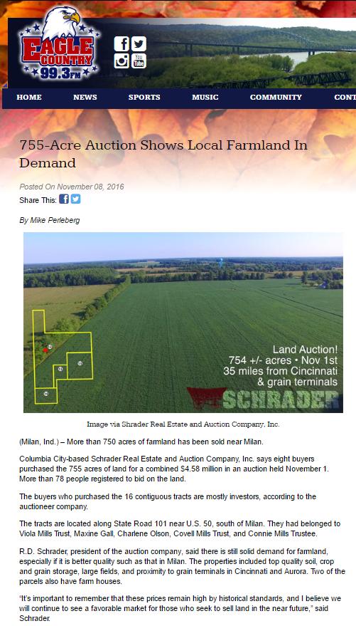 Schrader auction in Indiana featured on local radio