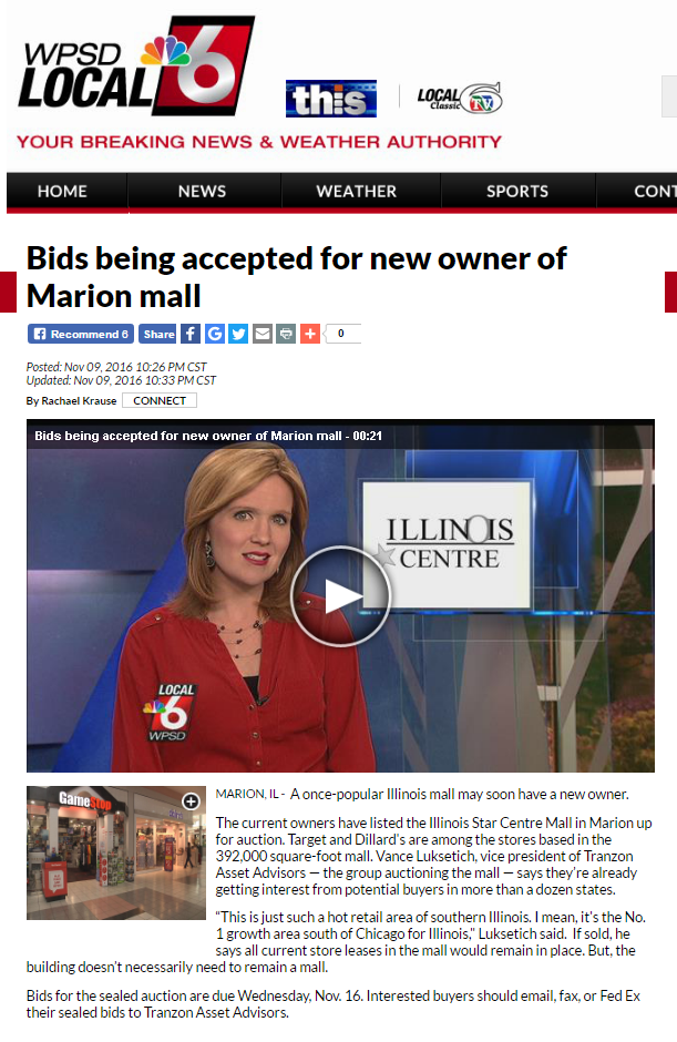 TV story on upcoming Tranzon auction in Marion, Illinois