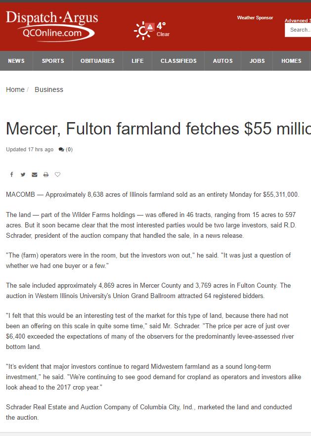 Moline, Illinois daily article on major farmland auction