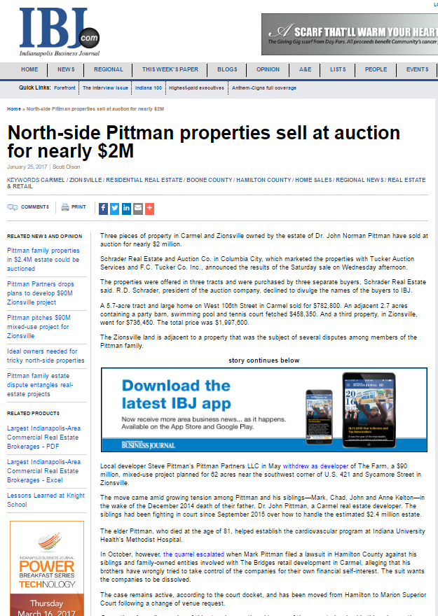 Indianapolis Business Journal on Schrader auction