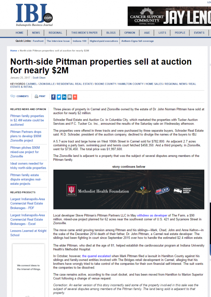 Indy Biz Journal recognizes recent Schrader auction