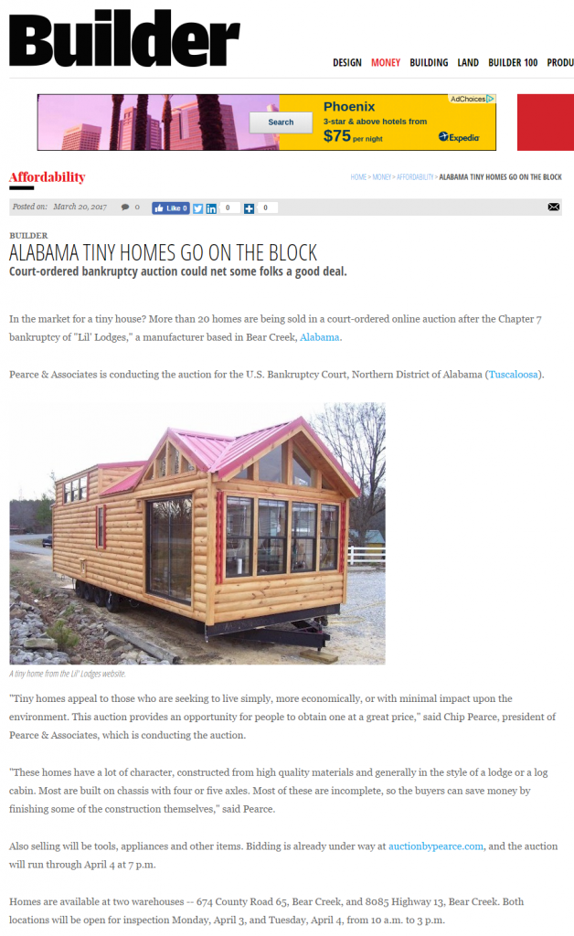 Tiny house auction covered by Builder magazine site