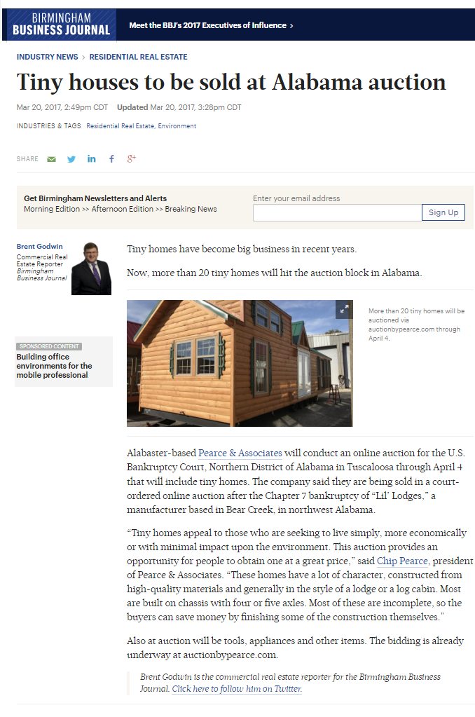 Birmingham Business Journal story on auction of tiny houses