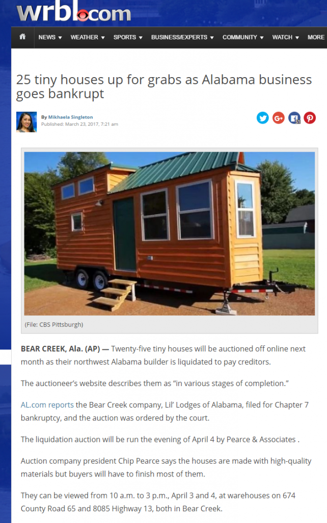 Out-of-market coverage for auction of tiny houses in Alabama