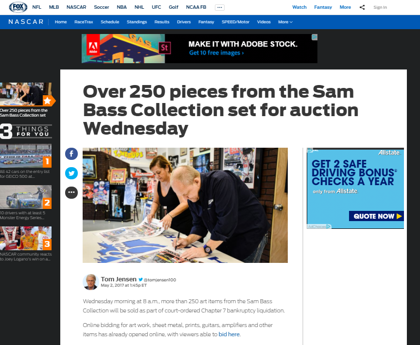 Another Fox Sports story on Sam Bass Collection auction