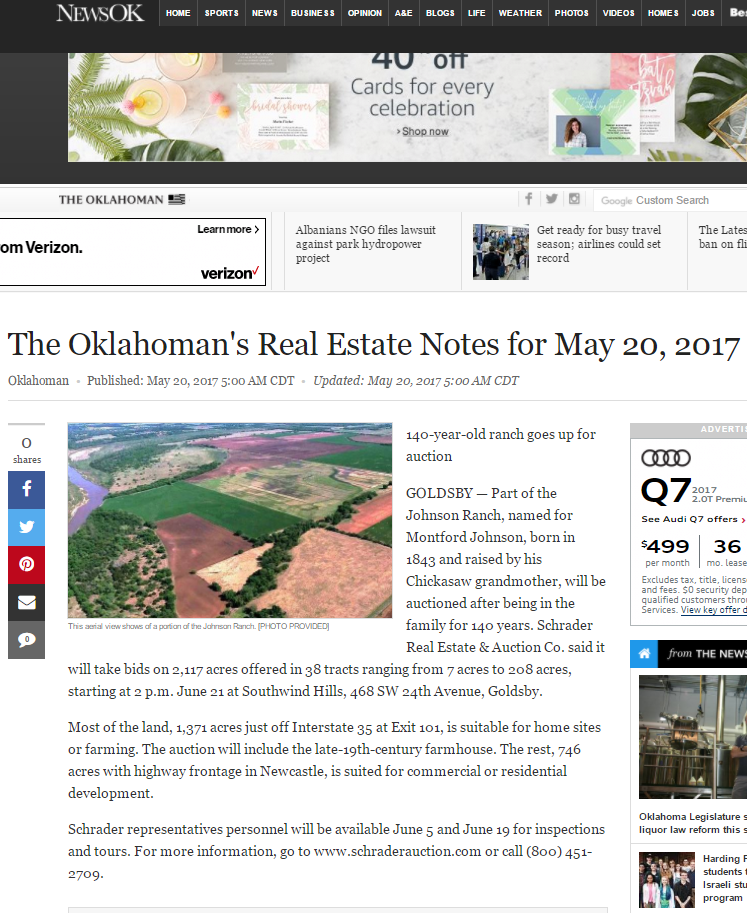 Oklahoman story on upcoming Schrader auction