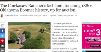 Major story in Oklahoman about upcoming Schrader auction