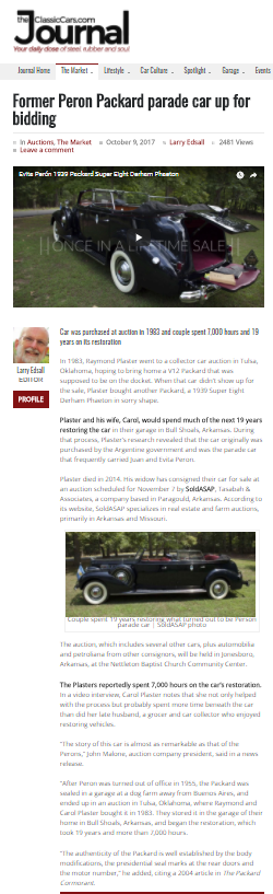 ClassicCars.com story on Peron parade car