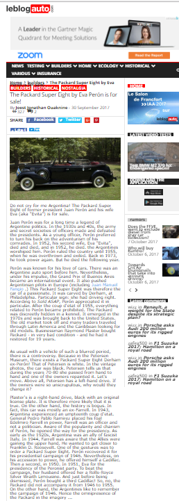 LeBlog — French story on upcoming auction of Peron parade car