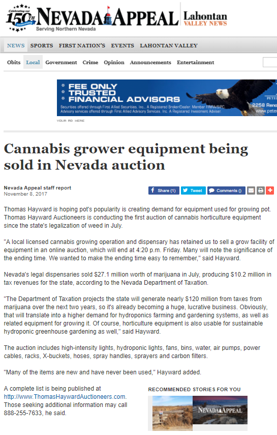 Carson City, Nevada, story about pot equipment auction