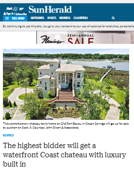 Big coverage on Mississippi Coast on upcoming luxury home auction