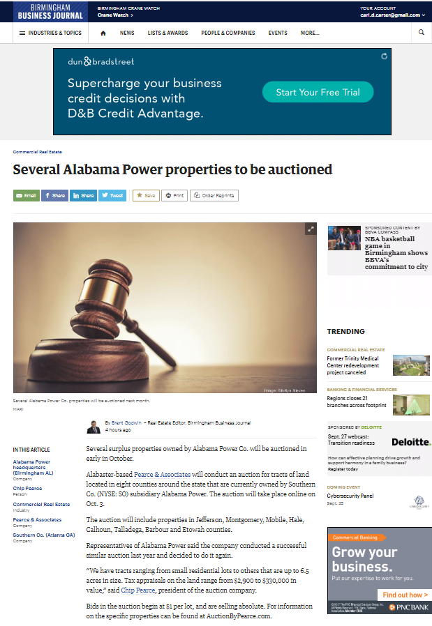 Birmingham Business Journal coverage of Pearce & Associates auction