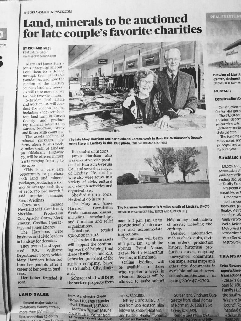 Major Oklahoman story on upcoming Schrader auction